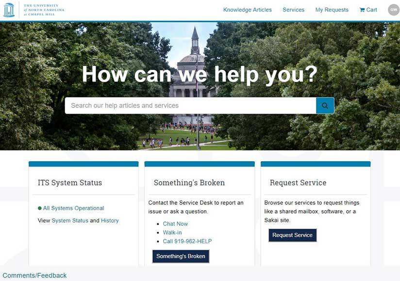 Screenshot of help.unc.edu